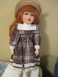 Porcelain Dolls~Red Head w/Brown/White Plaid Dress & Straw Hat~Tiffany