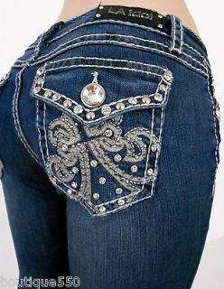 LA Idol Plus Bootccut Jeans Crystal Fleur De Lis Bold Stitching
