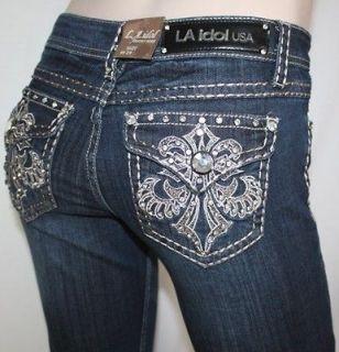 NWT LA IDOL Jeans Crystal Gold Fleur de Lis Boot Sz 7 or 28 So Hot