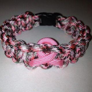 Breast cancer awareness paracord survival bracelet You Pick Size Pink