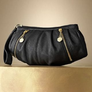JLO Jennifer Lopez CAROLINE Pleated Wristlet handbag purse   BLACK