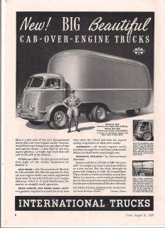 1939 VINTAGE INTERNATIONAL TRUCKS NEW BIG BEAUTIFUL CAB OVER ENGINE