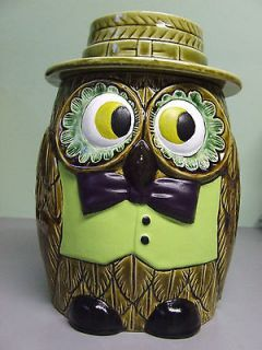 Vintage Floral Eyed Owl/Bird Cookie Jar (Japan)