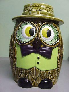 Vintage Floral Eyed Owl/Bird Cookie Jar (Japan)