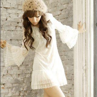 Snowwhite Women Lace Tops Mini Dress V Neck Ruflle 1368