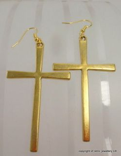 Cross Earrings Large Gold tone Simple Vintage style religious