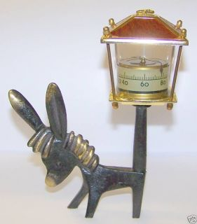 solid brass donkey with thermometer time left $ 24 95