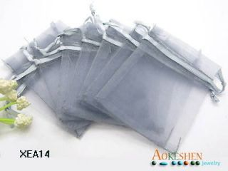 Grey Pure Organza Wedding Jewelry Favor Gift Bags Pouch 7x9cm XEA14