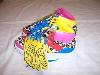 NWT Women Angel Wings Pink Leopard Red sz 8 Shoes Hi Top Ankle