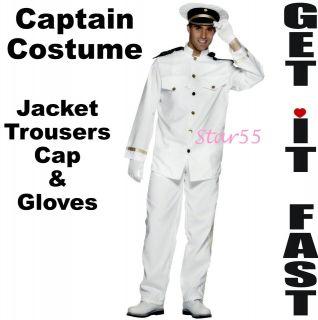 Mens White Navy Sea Captain Officer Sailor Fancy Dress Costume Med