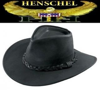 in the USA Henschel AUSTRALIAN Leather Western Cowboy Hat Black NWT