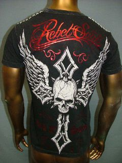 REBEL SAINTS by AFFLICTION Live Fast STAPLE Cross Wing FIGHT UFC T