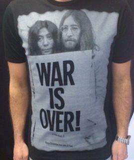 WAR IS OVER, JOHN LENNON, YOKO ONO BLACK MEN T SHIRT