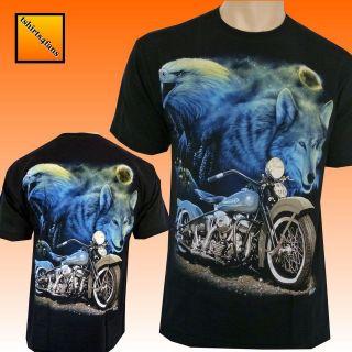 Wolf Eagle Biker Harley Motorbike Motorcycle T Shirt