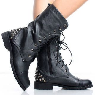 Black Punk Spike Studded Lace Up Combat Womens Flat Mid Calf Boots