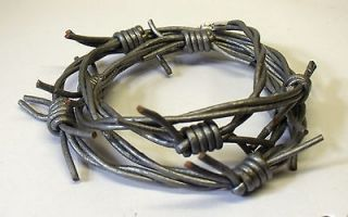 PUNK GREY LEATHER BARBED WIRE WRISTBAND BRACELET OR NECKLACE WRAP