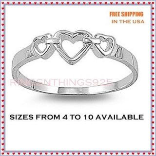 Sterling Silver 925 Women Three Open Hearts Ring Sizes 4,5,6,7,8,9,10