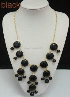 USA Bubble Bib Statement Fashion Chain mini BLACK necklace F&S BL6