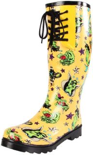 Betsey Johnson Womens Baxterr Waterproof Rain Boots Tattoo Print