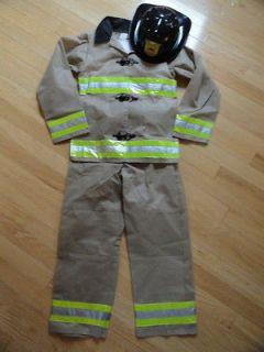 LITTLE BOYS HALLOWEEN COSTUME FIREMAN WITH HELMET BEIGE REFLECTIVE
