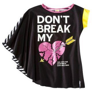 HARAJUKU MINI for Target Girls Black SHIRT Asymmetrical Top DONT BREAK