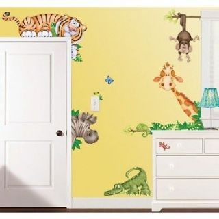 jungle safari animals kids wall decal stickers new time left