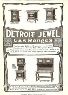 1905 detroit jewel stoves ranges kitchen art ad print returns