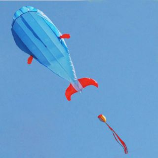 KITES 3D Huge Parafoil Giant Dolphin Blue Soft Kite Outdoor Sport Easy