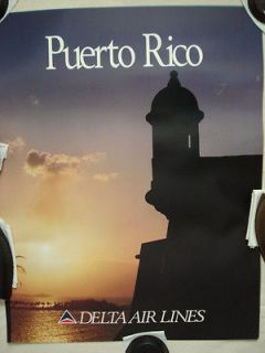 Vtg. 80s 90s Delta Airlines Travel Poster Puerto Rico Collectible