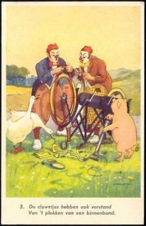 clown goose pig boar bike bicycle mechanic 1940s from netherlands