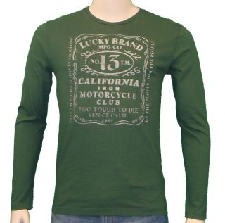 lucky brand jeans whiskey label t shirt dark green one
