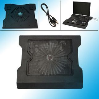 USB One Fan Cooling Cooler Pad Stand for 15.6 Laptop PC Black High