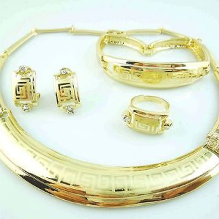 18K Gold plated Necklace bracelet earring ring jewelry set TZ41