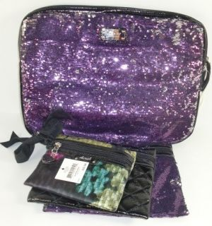 West Glitter Atzzi Purple Multi Sequins Laptop Case & Cosmetic Bags