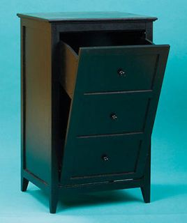 NEW Wooden Black Tilt Out Kitchen Indoor Trash Bin / Clothes Laundry