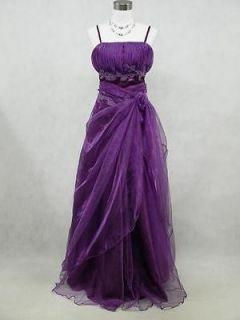 Cherlone Plus Size Satin Purple Prom Ball Gown Wedding/Evening Party