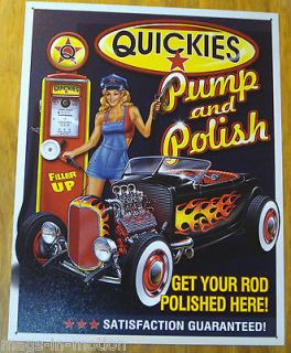 METAL SIGN QUICKIES PUMP & POLISH GAS SERVICE STATION HOT RAT ROD V8