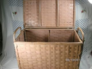 vintage child size pink bamboo wicker clothes hamper one day