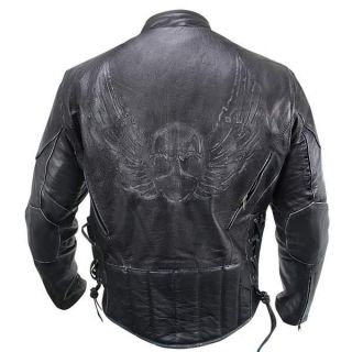 Mens Premium Black Distressed Leather Flying Skull Racer Jacket