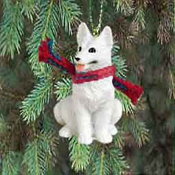 german shepherd white holiday ornament new
