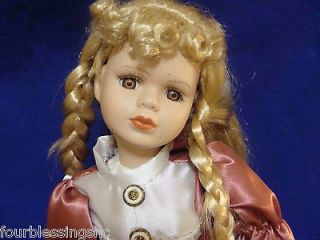 ASHLEY BELLE 16 PORCELAIN DOLL W. METAL STAND VICTORIA​N DRESS