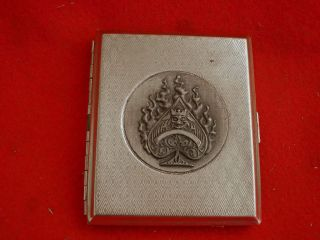 vintage mid century silver tone cigarette case used time left