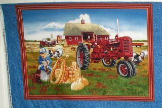 International Harvester Farmall Tractor Pillow Panel Fabric New (Pick