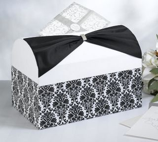 Lillian Rose Black Satin Sash Damask on White Wedding Card Box