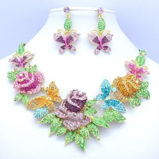 Pretty Multicolor Rhinestone Crystals Butterfly Rose Flower Necklace
