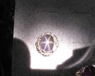 13X10MM, 11.32 CT PURPLE LINDY LINDE STAR SAPPHIRE CREATED SS RING