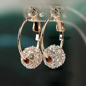 18k rose gold gp swarovski crystal ball earrings aaa34 from