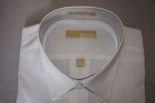 New Michael Kors White Dress Shirt Spread Collar regular cuff 100 %