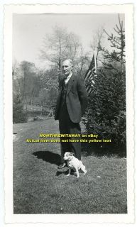 1940s Photo Older Man Suit Jack Russell Terrier Dog American Flag