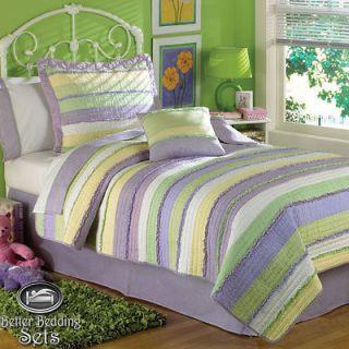Kid Purple Green Stripe Teenage Quilt Bedding Set Twin Full Queen